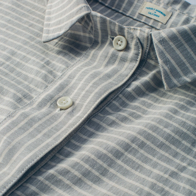 The Reese Popover in Grey Striped Chambray