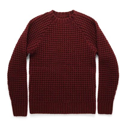 The Fisherman Sweater in Maroon Waffle: Featured Image