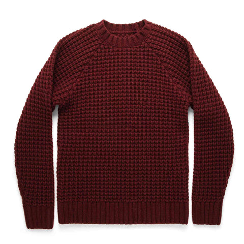 The Fisherman Sweater in Maroon Waffle - featured image