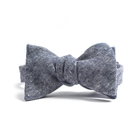 Navy Linen Chambray Bow Tie: Alternate Image 1