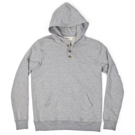 Heather Grey 3 Button Hooded Sweatshirt: Featured Image