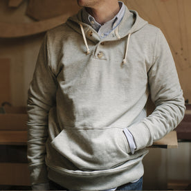 Heather Grey 3 Button Hooded Sweatshirt: Alternate Image 5
