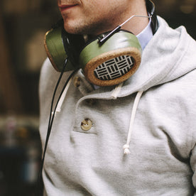 Heather Grey 3 Button Hooded Sweatshirt: Alternate Image 3