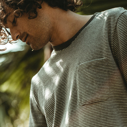 Our fit model wearing The Heavy Bag Tee in Grey Stripe.