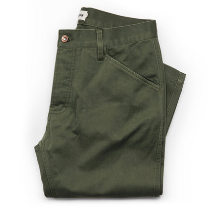 The Camp Pant in Olive Reverse Sateen: Featured Image