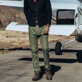 our fit model wearing The Camp Pant in Olive Reverse Sateen