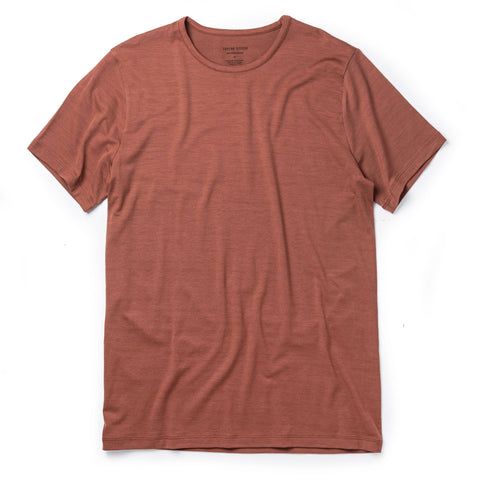 The Merino Tee in Brick Red - featured image