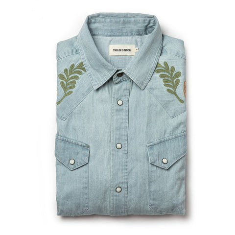 The Embroidered Western Shirt in Washed Denim - featured image