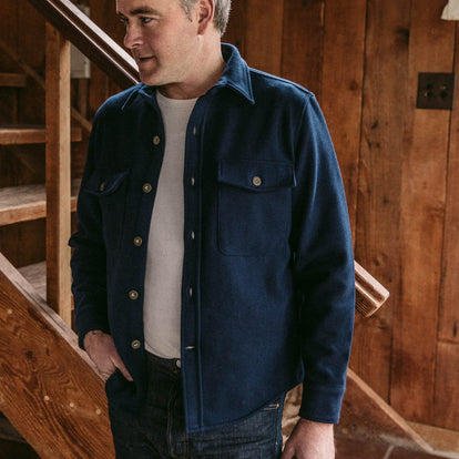 our fit model wearing The Explorer Shirt in Navy Boiled Wool