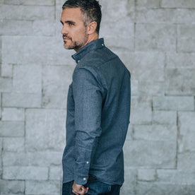 our fit model wearing The Jack in Brushed Heather Navy