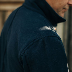 our fit model wearing The Ojai Jacket in Navy Boiled Wool