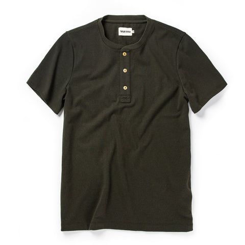 The Short Sleeve Heavy Bag Henley in Cypress - featured image