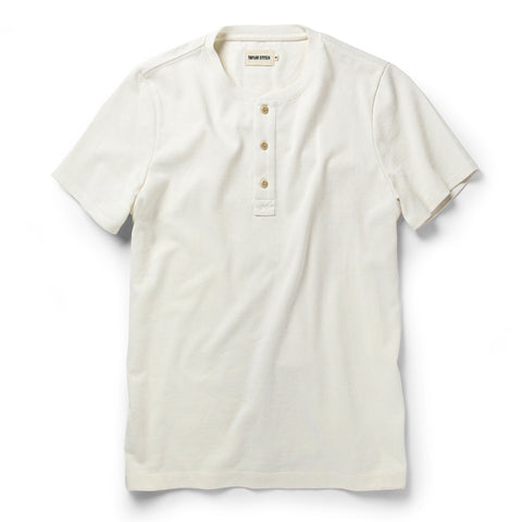 The Short Sleeve Heavy Bag Henley in Natural - featured image