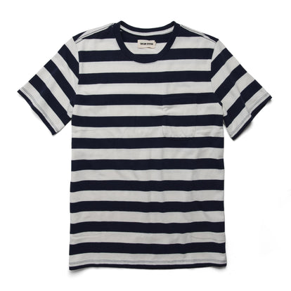 The Heavy Bag Tee in Natural & Navy Rugby Stripe