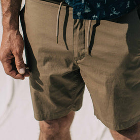our fit model wearing The Adventure Short in Mushroom