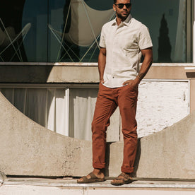 The Camp Pant in Rust Reverse Sateen - featured image