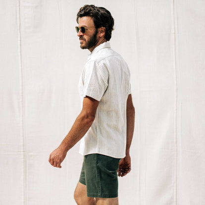 our fit model wearing The Short Sleeve Hawthorne in Natural Stripe