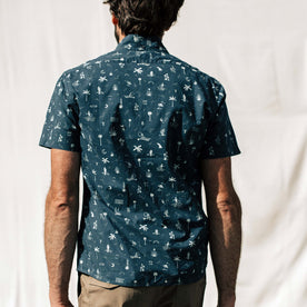 our fit model wearing The Short Sleeve Jack in Navy Aloha