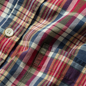 Close up material shot highlighting plaid pattern