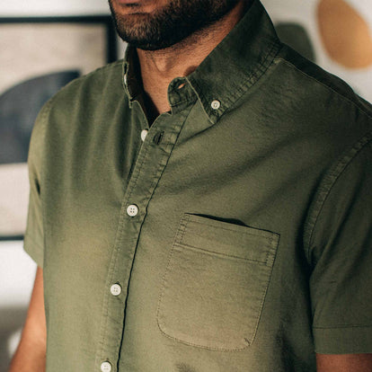 our fit model wearing The Short Sleeve Jack in Cactus