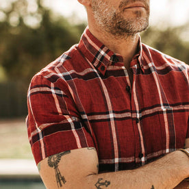 our fit model wearing The Short Sleeve Jack in Crimson Plaid