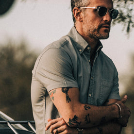 our fit model wearing The Short Sleeve Jack in Dusk Oxford
