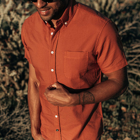 The Short Sleeve Jack in Terracotta Oxford - alternate view