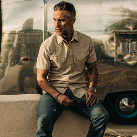 The Short Sleeve Western in Natural Herringbone - featured image
