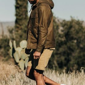 our fit model wearing The Trail Short in Khaki Cord