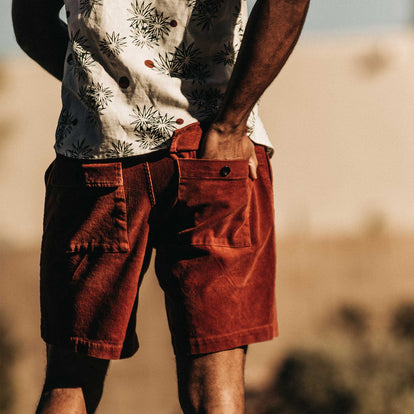 our fit model wearing The Trail Short in Rust Cord