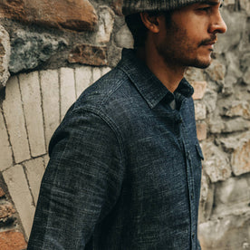our fit model wearing The Cash Shirt in Indigo Hemp—cropped shot of shoulder