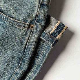 material shot of The Democratic Jean in 24-Month Wash Japanese Selvage—selvage detail closeup