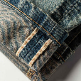 material shot of The Democratic Jean in 24-Month Wash Japanese Selvage—selvage coloring closeup