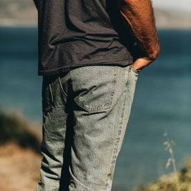 our fit model wearing The Slim Jean in 24-Month Wash Japanese Selvage—back detail shot