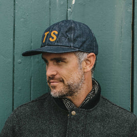 our fit model wearing Ball Cap in '68 Denim by Taylor Stitch