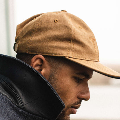 our fit model wearing The Ball Cap in British Khaki