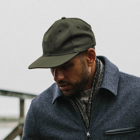 our fit model wearing The Ball Cap in Olive