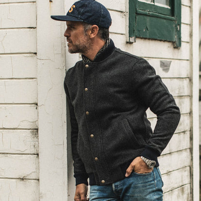 our fit model wearing The Bomber Jacket in Charcoal Wool
