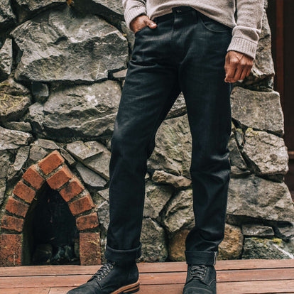 our fit model wearing The Democratic Jean in Black Selvage