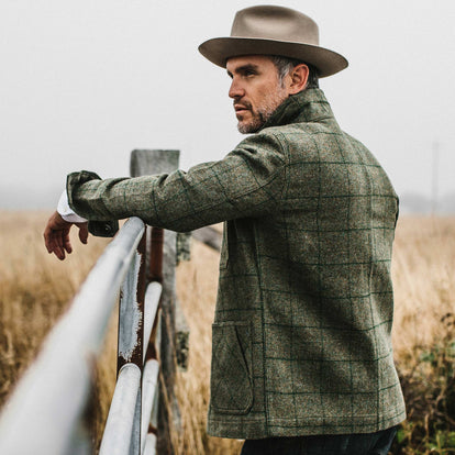our fit model wearing The Ojai Jacket in Windowpane Wool