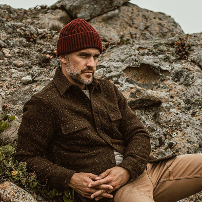 our fit model wearing The Beanie in Maroon