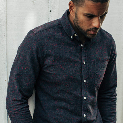 Our fit model wearing the Jack in Midnight Donegal