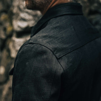 our fit model wearing The Long Haul Jacket in Black Selvage