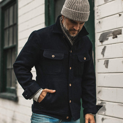 our fit model wearing The Long Haul Jacket in Indigo Sashiko