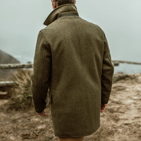 our fit model wearing The Mendocino Peacoat in British Army