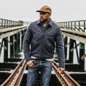 our fit model wearing The Monterey Bomber in Navy Wool