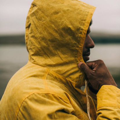 our fit model wearing The Winslow Parka in Mustard Waxed Canvas