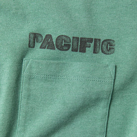 "material shot of chest pocket with ""pacific"" text"