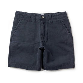 The Morse Short in Navy Slub Linen - featured image