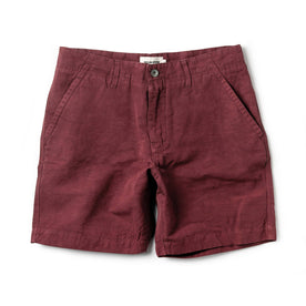 flatlay of The Morse Short in Brick Red Slub Linen
